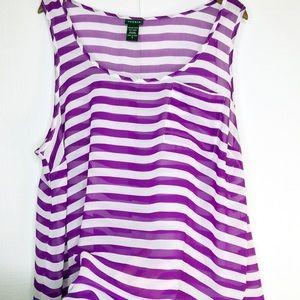 Torrid Purple Striped Sheer Sleeveless Blouse H29